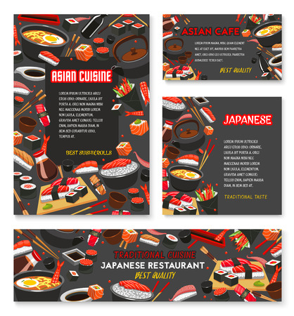 Japanese restaurant menu banner with asian food.