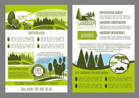 Landscape design company business brochure template. Landscape architecture, construction, park planning and garden design promotion banner or leaflet with green tree, leaf and grass lawn. Illustration