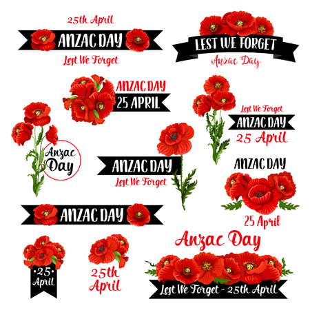 Anzac Day badge set of red poppy flower and black ribbon with Lest We Forget message. Australian and New Zealand Army Force Remembrance Day emblem with floral wreath