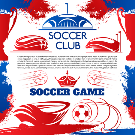 Soccer sport club poster with football stadium. Sport arena for football competition event and tournament match grunge poster, flanked by soccer ball, winner trophy cup and crown Illusztráció