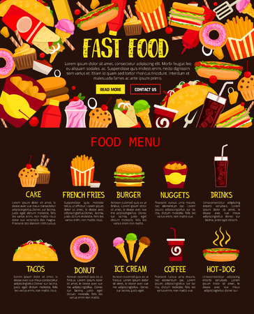 Fast food menu template of lunch meal and drinks. Burger, hot dog and fries, chicken nuggets, donut, soda and coffee, ice cream, cake, taco and burrito frame for fast food restaurant web banner design Illustration