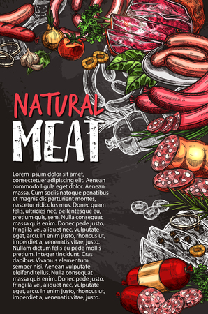 Natural meat product blackboard poster with sausage, spice and condiment chalk sketch. Grilled beef and pork sausage, bacon, ham and salami, chicken leg, frankfurter and lamb chalkboard menu design