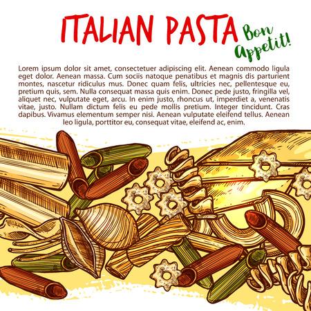 マカロニの形の品揃えとイタリアのパスタスケッチポスター。食品包装や地中海メニューデザインのためのスパゲッティ、ペンネ、フシリ、リガト