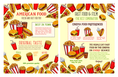 Fast food restaurant and burger cafe poster with lunch menu dishes. Hamburger and hot dog sandwich, pizza, fries, coffee and soda drink, ice cream and popcorn sketch for fast food promo banner design