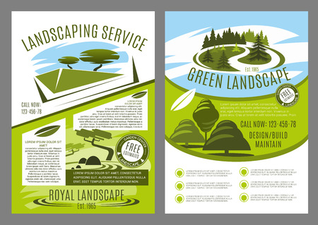 Landscape service company business poster for landscaping and gardening template. Landscape architecture design studio brochure design with green tree, plant and japanese rock garden badge