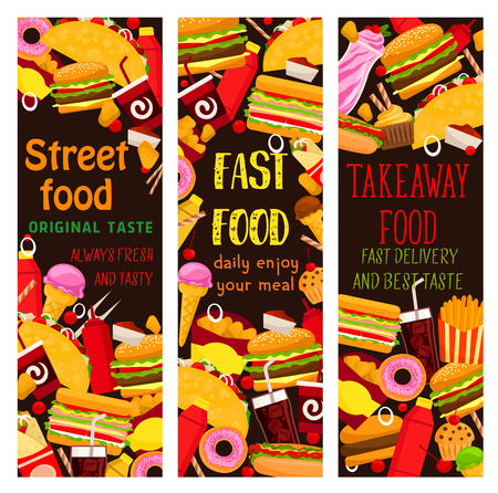 Fast food restaurant banner with takeaway lunch illustration. Illustration