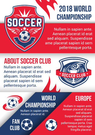 Soccer championship match poster of football sport