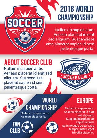 Soccer championship match poster of football sport
