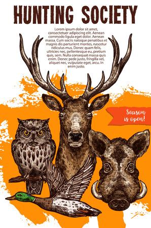 야생 동물 및 조류와 스포츠 배너를 사냥. 사냥 시즌 개장 및 사냥꾼 클럽 디자인 발표 포스터를위한 사슴, 오리, 멧돼지 및 올빼미 스케치