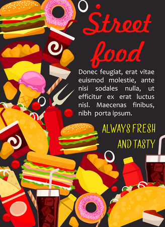 Fast food lunch poster with burger and drink. Hamburger, hot dog and sandwich, fries, cheeseburger and coffee, donut, chicken nuggets and soda, meat taco and burrito for fastfood menu cover design