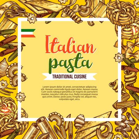 마 카로 니 스케치 프레임 이탈리아 파스타 포스터입니다. 펜네, 스파게티와 farfalle, fusilli, rigatoni와 라자냐, cannelloni, 국수, conchiglie 및 tagliatelle 파스타 일러스트