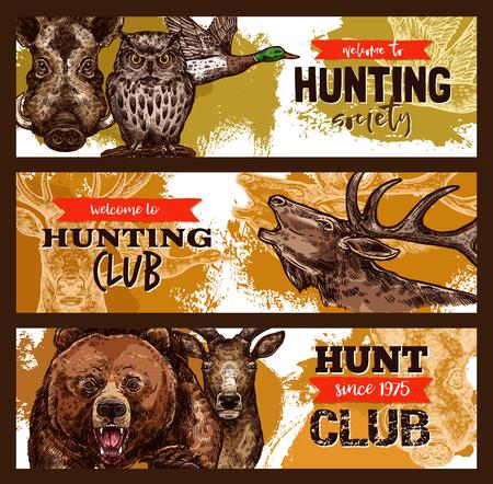 사냥 스포츠, 야생 동물 사냥꾼 클럽 배너 일러스트