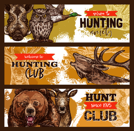 Hunting sport, hunter club banner with wild animal Çizim