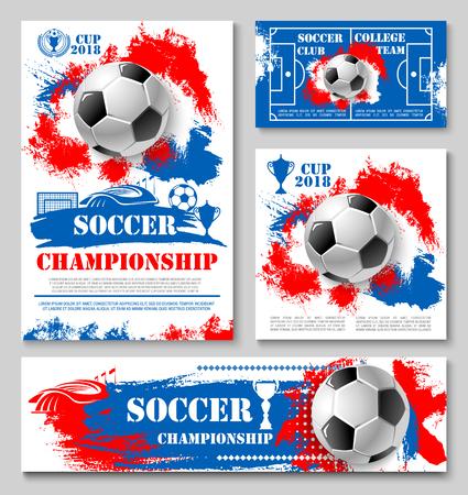 Fußball Sport Meisterschaft Cup Plakat Vorlage des College-Football-Teams. Fußball, Siegertrophäe und Fußballstadionsfeld, Sportarena und Torfahne für Wettbewerbsspiel-Mitteilungsdesign