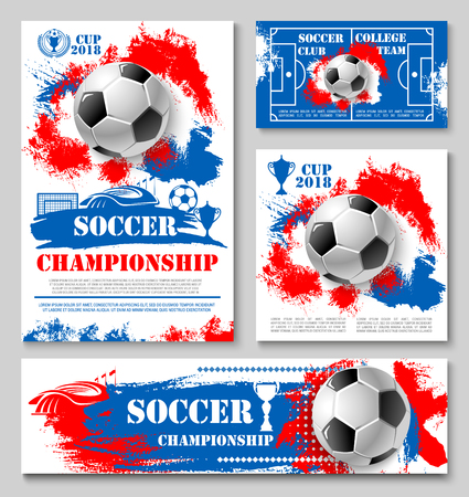 Soccer sport championship cup poster template of college football team. Soccer ball, winner trophy and football stadium field, sports arena and gate banner for competition match announcement design