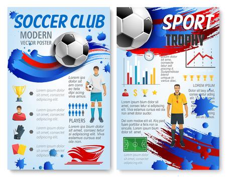 Fußballsport infographic mit Fußballteamspieler- und -trophäenstatistikinfo. Diagramm und Grafik mit Fußballstadionsfelddiagramm und Fußball, Siegerpokal, Schiedsrichterkarte und Sportarenaikonen