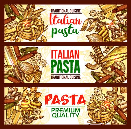イタリア料理のパスタとスパゲッティのバナー。ペンネ、ファルフェールとスパゲッティ、カネロニ、フシリとリガトーニ、ラザニア、ヌードル、  イラスト・ベクター素材