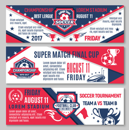 Soccer or football sport championship match banner.