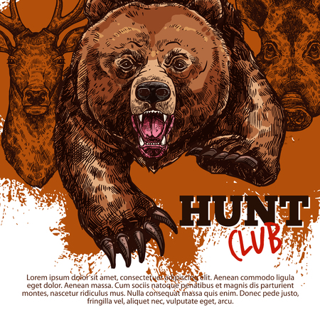 Hunting sport club of hunter poster with wild bear, deer and boar animal sketch. Roaring grizzly attacking with angry muzzle, reindeer and hog banner on grunge background for hunting season design