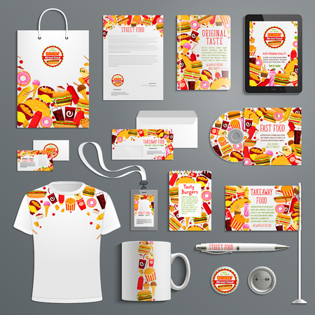 Corporate identity template for fast food branding