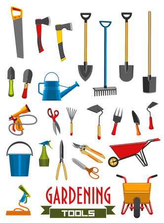 Vector farm gardening tools isolated icons