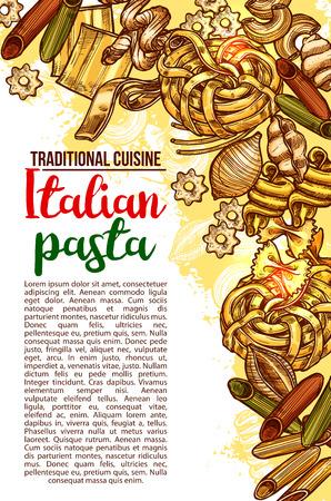 Vector Italian pasta restaurant menu sketch poster Stock Vector - 95331368