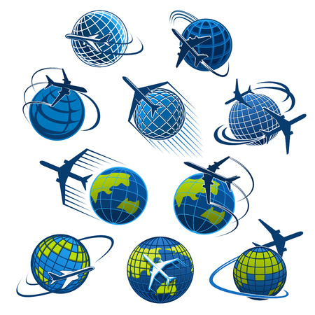 Airplane and world globe icon templates for travel agency or air post mail delivery and aviation logistics service company. Vector isolated aircraft flying around earth for tourism journey or airlines  イラスト・ベクター素材