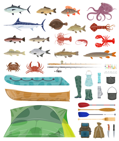 Fisherman tools and fishing tackles icons. Vector isolated equipment set of fisher boat, tent and fishing net or rod with hooks and fishes bait for flounder, salmon or trout and marlin or tuna catch