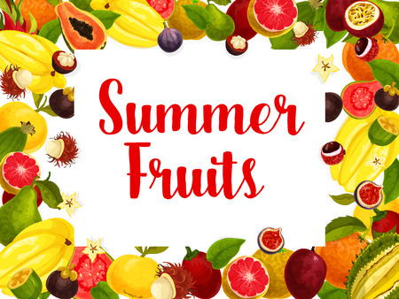 Exotic summer fruits poster for fruit shop or farm market. Vector design of tropical grapefruit, papaya and passion fruit maracuya or juicy banana and kiwi or durian and orange or feijoa harvest