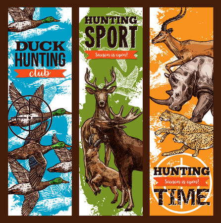 Hunting sport club sketch banners design template for open season or hunter African safari on wild animals. Vector elk or deer and cheetah panther or duck and rhinoceros and gazelle for hunting season Ilustrace