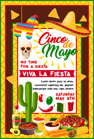 Cinco de Mayo mexican fiesta party banner with traditional holiday symbols. Sombrero hat, chili pepper or jalapeno and maracas, cactus, tequila margarita and nachos, burrito, guacamole and Mexico flag
