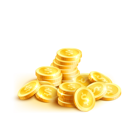 Golden coins or gold cent coin pile icon. Vector isolated symbol of golden dollar coins money stack placer for casino poker jackpot win game or rich wealth and banking currency or lottery design