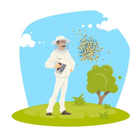 Beekeeping apiary and beekeeper vector design