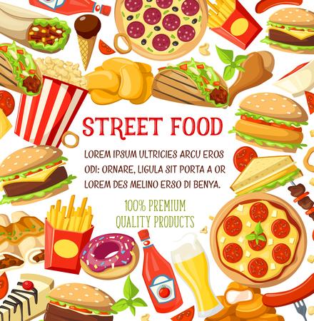 Vector street food meals snacks menu poster