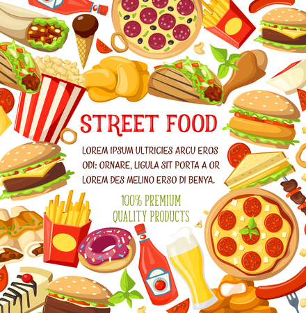 Vector street food meals snacks menu poster