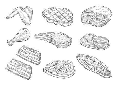 Vector schets slagerij vlees kip pictogrammen