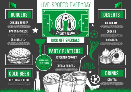 Vector soccer bar football beer pub meals menu Illustration