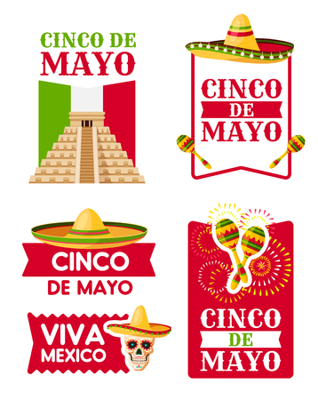 Mexican Cinco de Mayo badge of sombrero, maracas Illustration