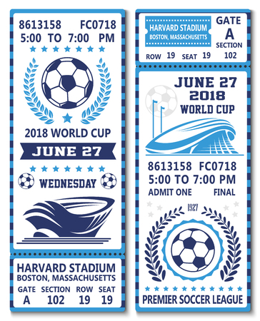 Vector tickets of football soccer world cup 2018