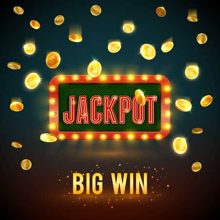 Jackpot big win casino fame vector backdrop 免版税图像 - 95330593