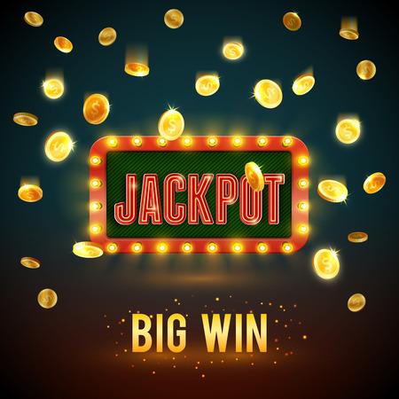 Jackpot big win casino fame vector backdrop
