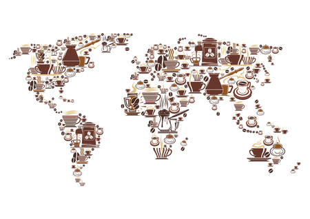 Vector coffee world map for cafeteria cafe