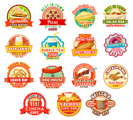 Vector fast food restaurant or fastfood cafe icons