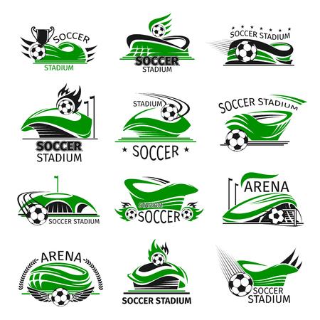 Vector voetbal geïsoleerde pictogrammen van voetbalarena