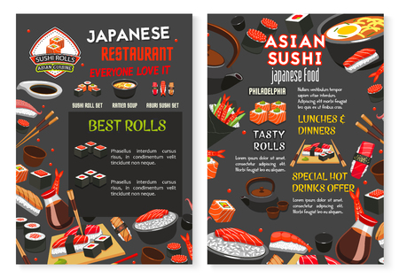 Vector Japanese Asian sushi food restaurant menu