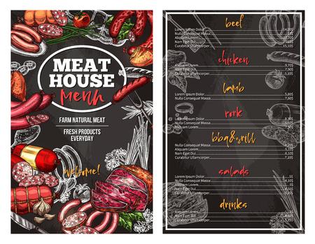 肉の家デリカテッセンのためのベクタースケッチメニュー