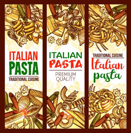 Italian pasta traditional cuisine sketch banners of macaroni, lasagna or spaghetti and fettuccine, ravioli or pappardelle and farfalle or tagliatelle. Vector design template for pasta restaurant menu