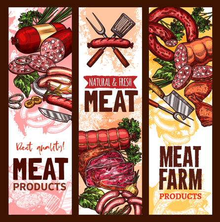 Vector sketch banners for meat farm products 向量圖像