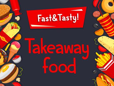 Vector fast food takeaway cafe bistro menu poster