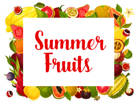 Vector summer fruit poster of tropical fruits Иллюстрация